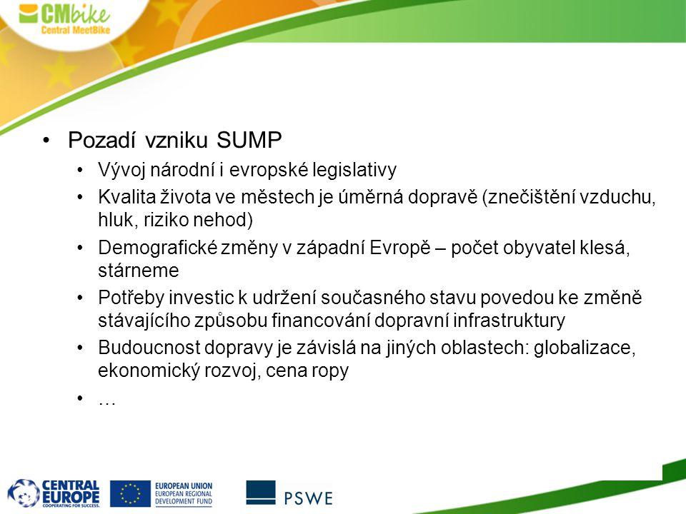 11 Pozadí vzniku SUMP Vývoj národní i evropské legislativy Kvalita života ve městech je úměrná dopravě (znečištění vzduchu, hluk, riziko nehod) Demogr