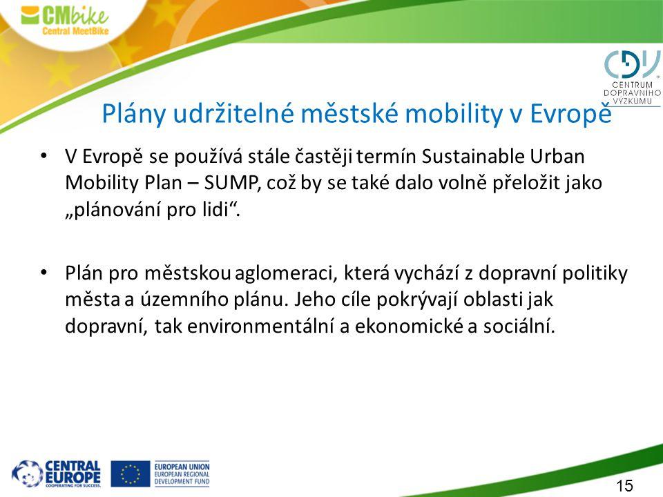 15 Plány udržitelné městské mobility v Evropě V Evropě se používá stále častěji termín Sustainable Urban Mobility Plan – SUMP, což by se také dalo vol