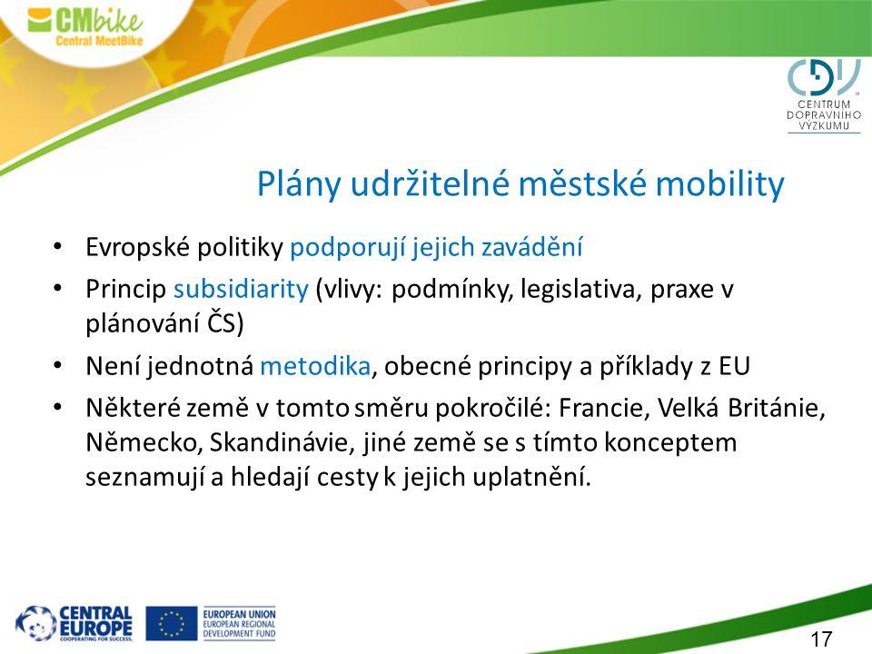 17 Plány udržitelné městské mobility Evropské politiky podporují jejich zavádění Princip subsidiarity (vlivy: podmínky, legislativa, praxe v plánování