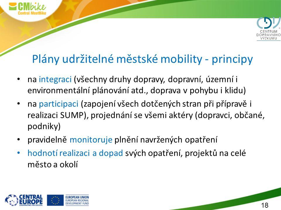 18 Plány udržitelné městské mobility - principy na integraci (všechny druhy dopravy, dopravní, územní i environmentální plánování atd., doprava v pohy