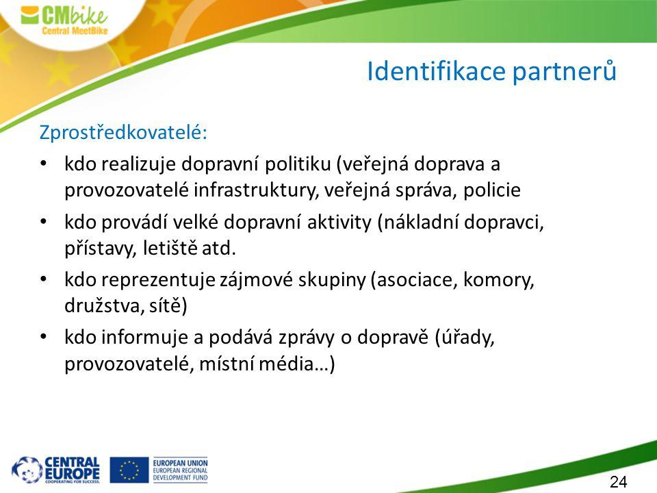 24 Identifikace partnerů Zprostředkovatelé: kdo realizuje dopravní politiku (veřejná doprava a provozovatelé infrastruktury, veřejná správa, policie k