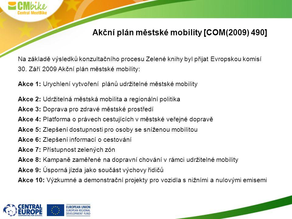 5 Akční plán městské mobility [COM(2009) 490] Na základě výsledků konzultačního procesu Zelené knihy byl přijat Evropskou komisí 30. Září 2009 Akční p