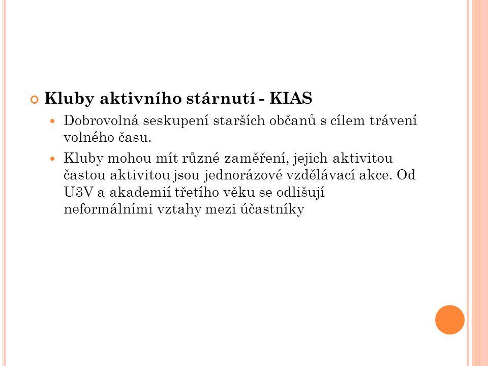 Kluby aktivního stárnutí - KIAS Dobrovolná seskupení starších občanů s cílem trávení volného času.