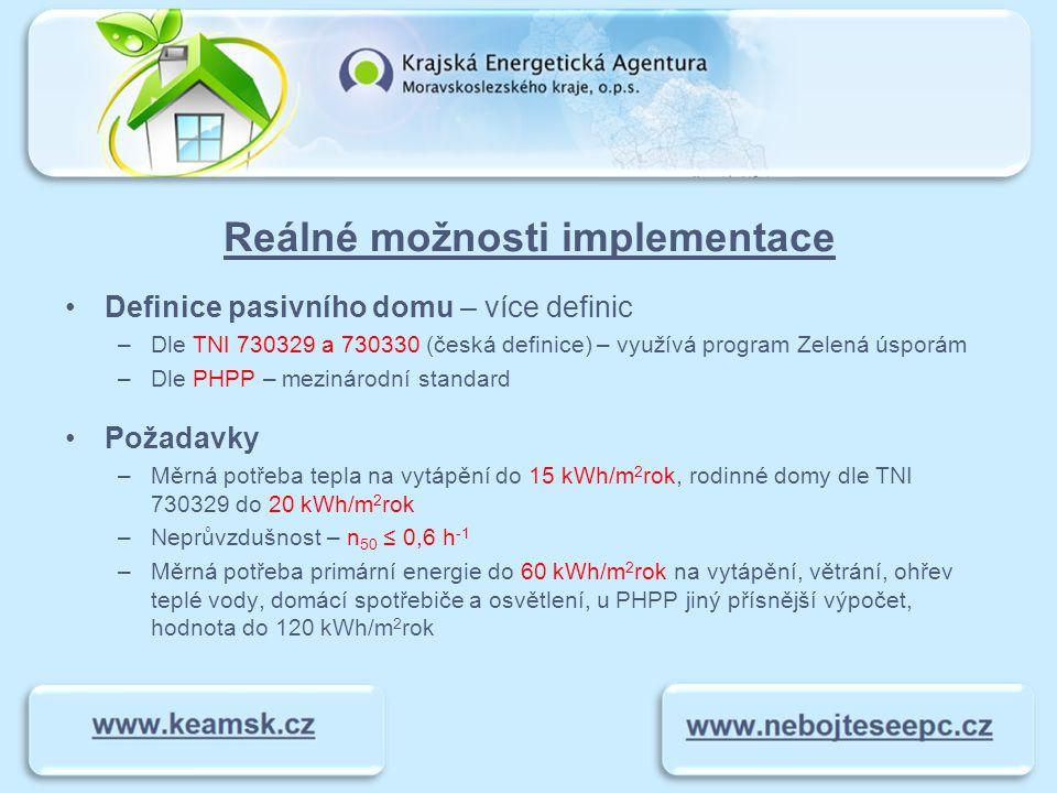 Reálné možnosti implementace Definice pasivního domu – více definic –Dle TNI 730329 a 730330 (česká definice) – využívá program Zelená úsporám –Dle PH