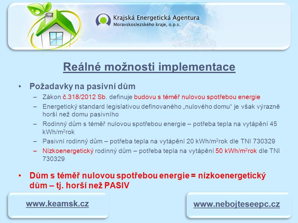 Reálné možnosti implementace Požadavky na pasivní dům –Zákon č.318/2012 Sb. definuje budovu s téměř nulovou spotřebou energie –Energetický standard le