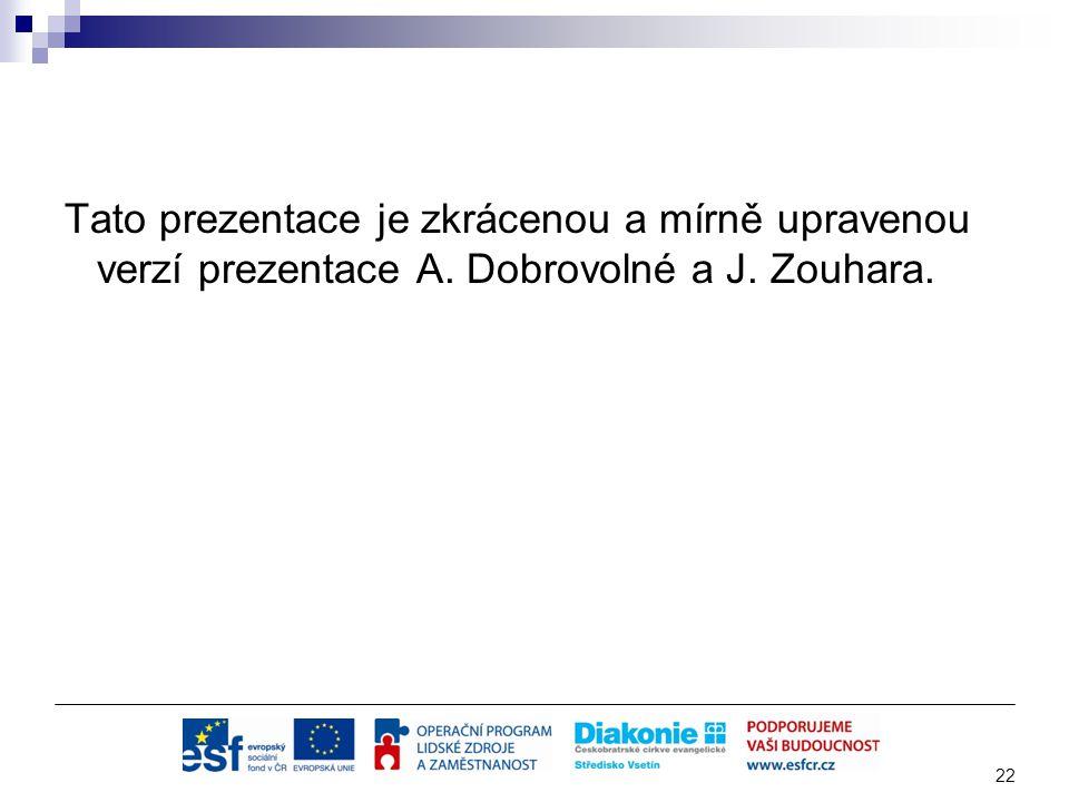 Tato prezentace je zkrácenou a mírně upravenou verzí prezentace A. Dobrovolné a J. Zouhara. 22