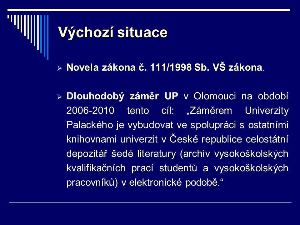 """Výchozí situace  Novela zákona č. 111/1998 Sb. VŠ zákona.  Dlouhodobý záměr UP v Olomouci na období 2006-2010 tento cíl: """"Záměrem Univerzity Palacké"""