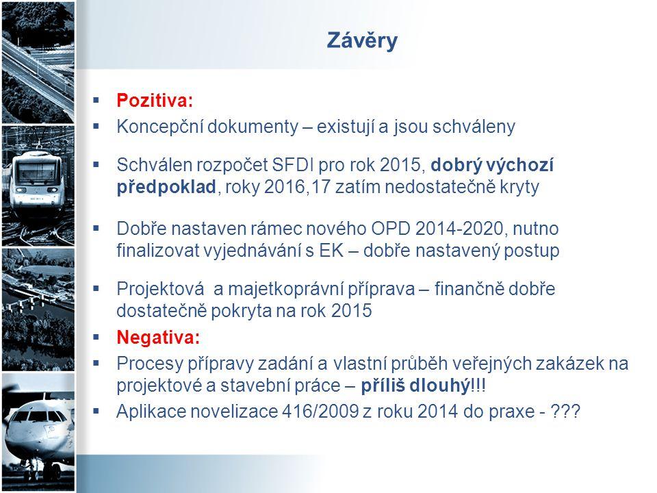 Závěry  Pozitiva:  Koncepční dokumenty – existují a jsou schváleny  Schválen rozpočet SFDI pro rok 2015, dobrý výchozí předpoklad, roky 2016,17 zat