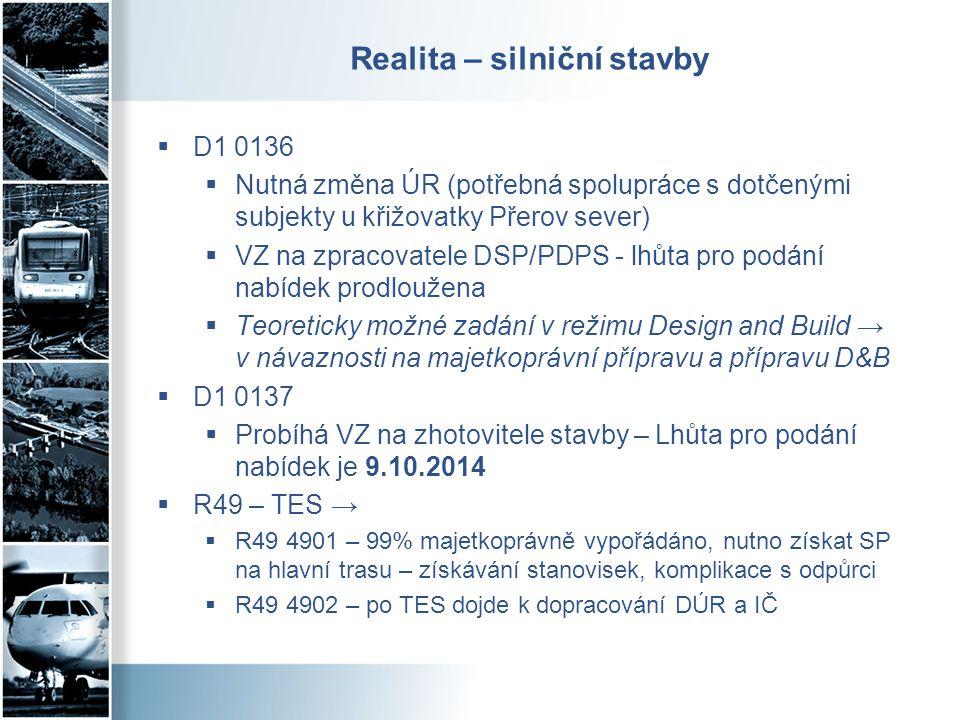 Realita – silniční stavby  D1 0136  Nutná změna ÚR (potřebná spolupráce s dotčenými subjekty u křižovatky Přerov sever)  VZ na zpracovatele DSP/PDP