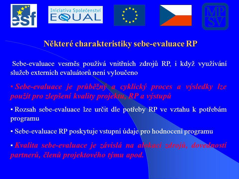 Některé charakteristiky sebe-evaluace RP Sebe-evaluace vesměs používá vnitřních zdrojů RP, i když využívání služeb externích evaluátorů není vyloučeno