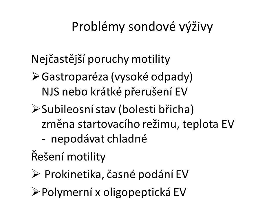 Problémy sondové výživy Nejčastější poruchy motility  Gastroparéza (vysoké odpady) NJS nebo krátké přerušení EV  Subileosní stav (bolesti břicha) zm