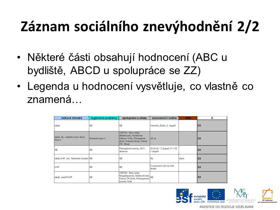 Záznam sociálního znevýhodnění 2/2 Některé části obsahují hodnocení (ABC u bydliště, ABCD u spolupráce se ZZ) Legenda u hodnocení vysvětluje, co vlastně co znamená…