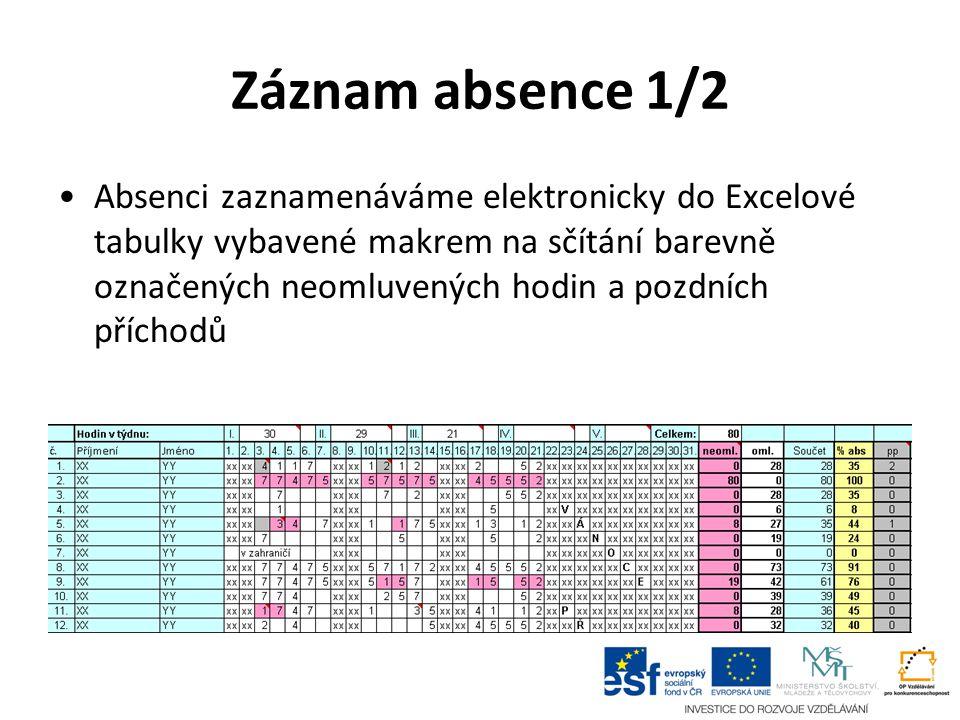 Záznam absence 1/2 Absenci zaznamenáváme elektronicky do Excelové tabulky vybavené makrem na sčítání barevně označených neomluvených hodin a pozdních příchodů