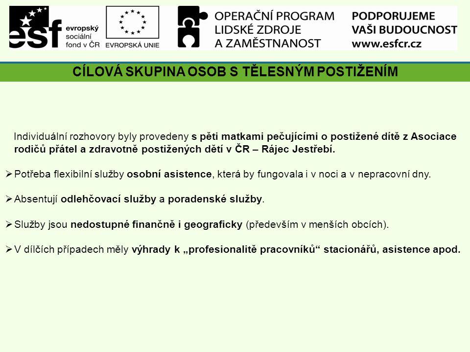 CÍLOVÁ SKUPINA OSOB S TĚLESNÝM POSTIŽENÍM Individuální rozhovory byly provedeny s pěti matkami pečujícími o postižené dítě z Asociace rodičů přátel a zdravotně postižených dětí v ČR – Rájec Jestřebí.