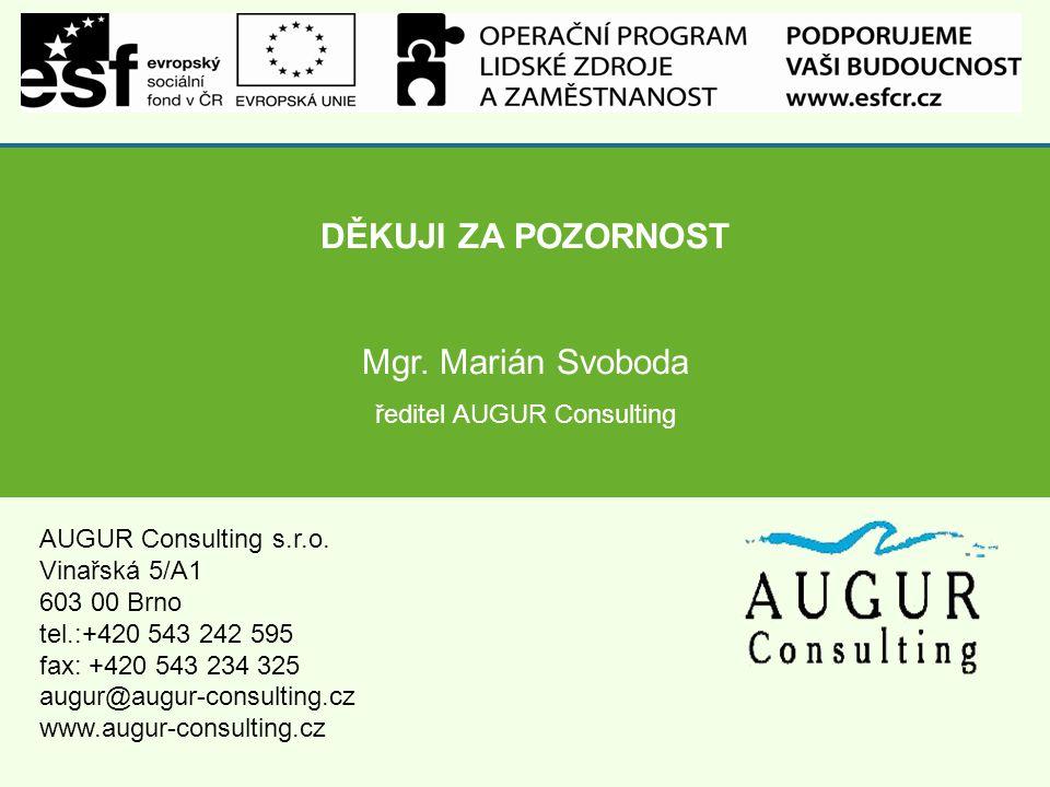 DĚKUJI ZA POZORNOST Mgr. Marián Svoboda ředitel AUGUR Consulting AUGUR Consulting s.r.o.