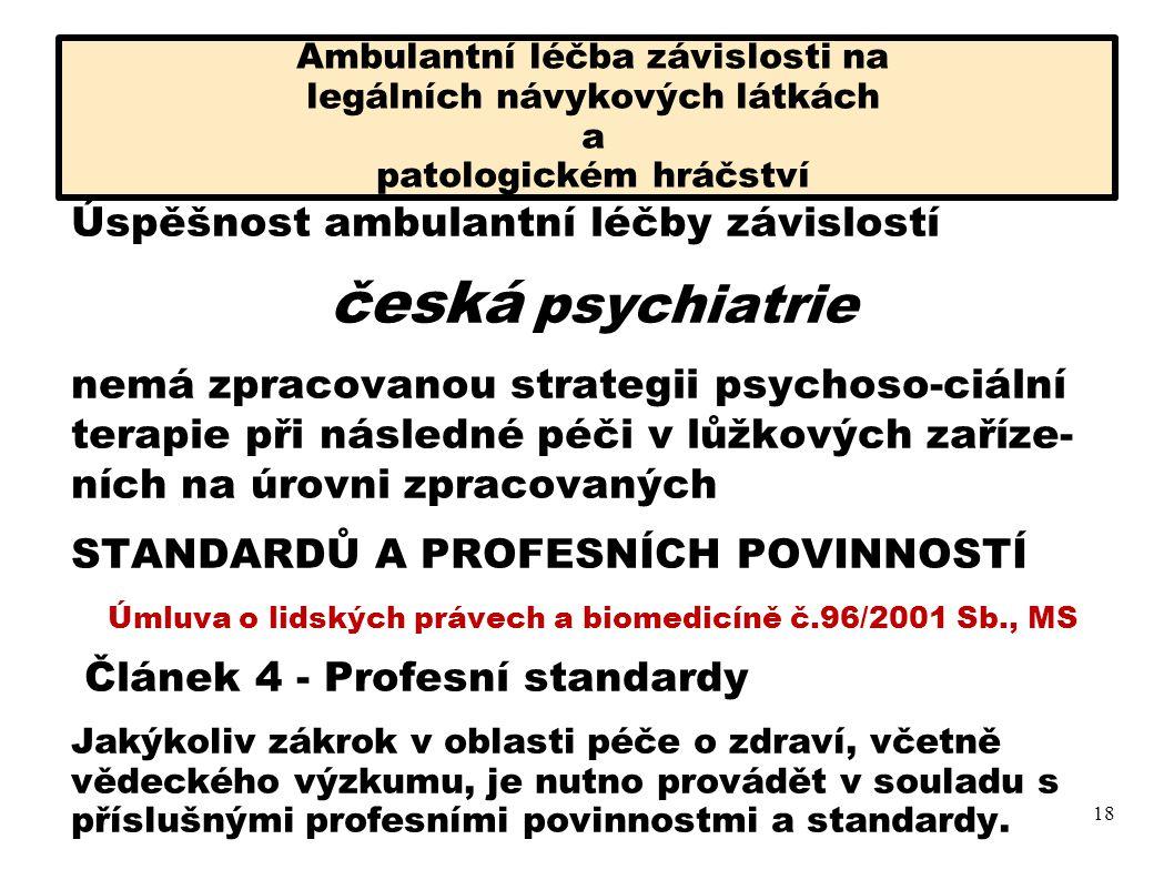 Ambulantní léčba závislosti na legálních návykových látkách a patologickém hráčství Úmluva Čl.