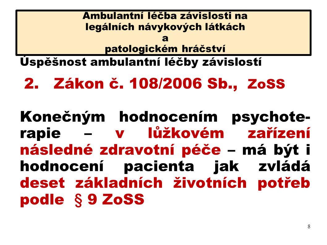Ambulantní léčba závislosti na legálních návykových látkách a patologickém hráčství Úspěšnost ambulantní léčby závislostí 2.