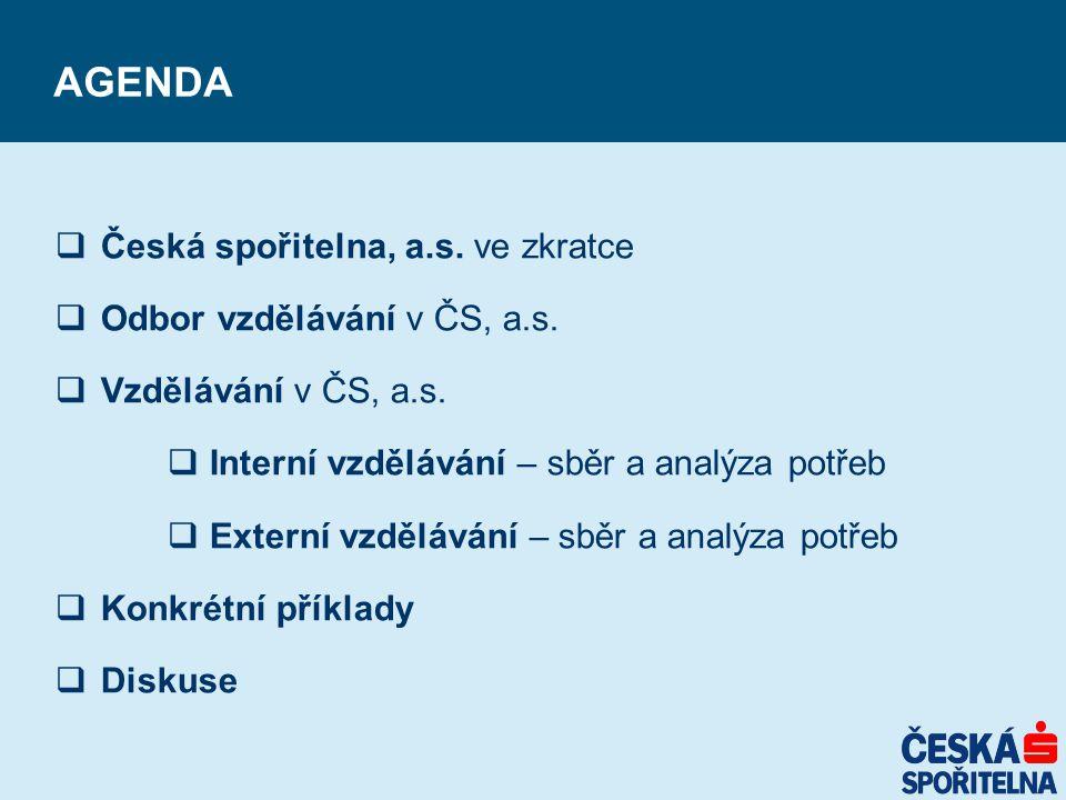 AGENDA  Česká spořitelna, a.s. ve zkratce  Odbor vzdělávání v ČS, a.s.  Vzdělávání v ČS, a.s.  Interní vzdělávání – sběr a analýza potřeb  Extern