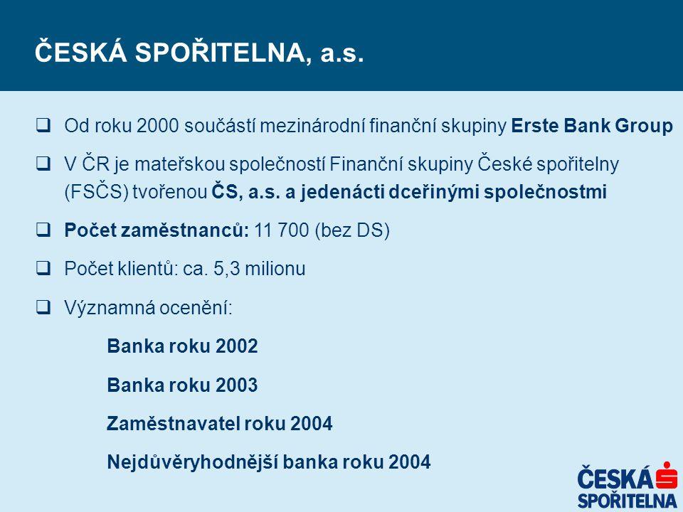 ČESKÁ SPOŘITELNA, a.s.  Od roku 2000 součástí mezinárodní finanční skupiny Erste Bank Group  V ČR je mateřskou společností Finanční skupiny České sp