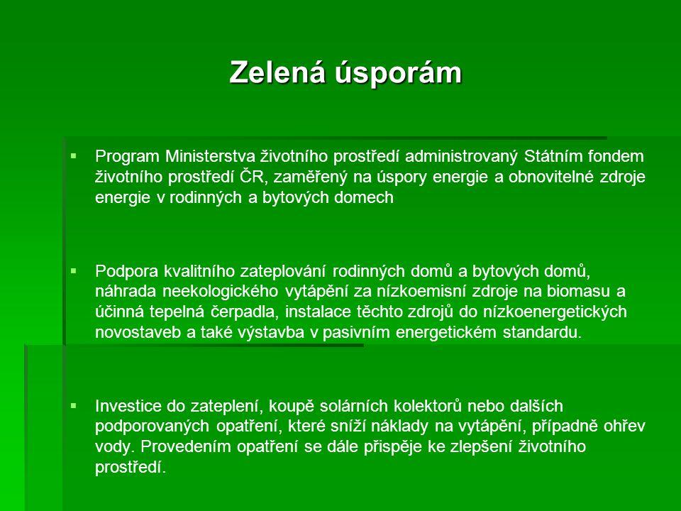 Zelená úsporám   Program Ministerstva životního prostředí administrovaný Státním fondem životního prostředí ČR, zaměřený na úspory energie a obnovit