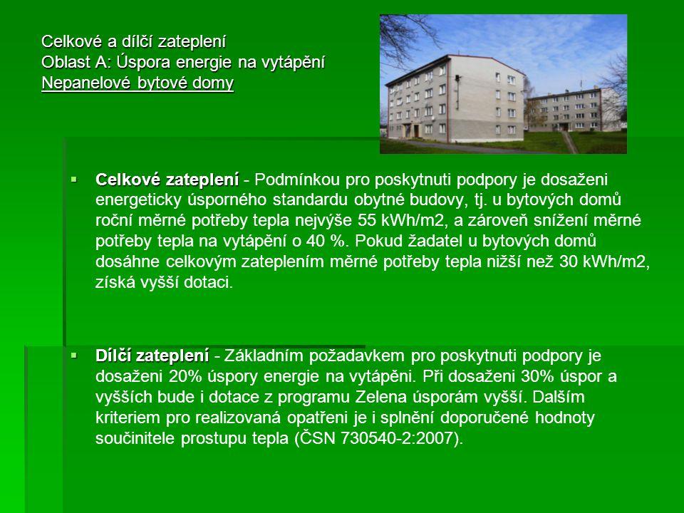 Celkové a dílčí zateplení Oblast A: Úspora energie na vytápění Nepanelové bytové domy  Celkové zateplení  Celkové zateplení - Podmínkou pro poskytnu