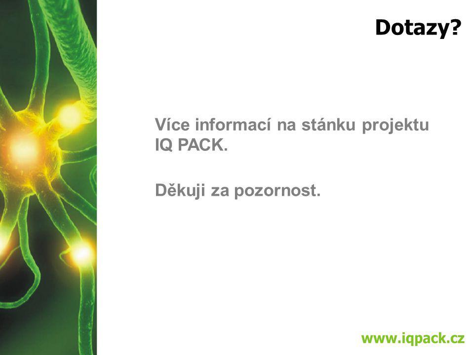 Dotazy Více informací na stánku projektu IQ PACK. Děkuji za pozornost.