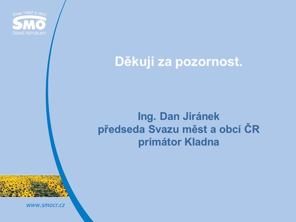Děkuji za pozornost. Ing. Dan Jiránek předseda Svazu měst a obcí ČR primátor Kladna