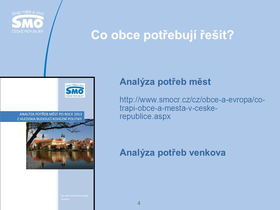 4 Co obce potřebují řešit? Analýza potřeb měst http://www.smocr.cz/cz/obce-a-evropa/co- trapi-obce-a-mesta-v-ceske- republice.aspx Analýza potřeb venk