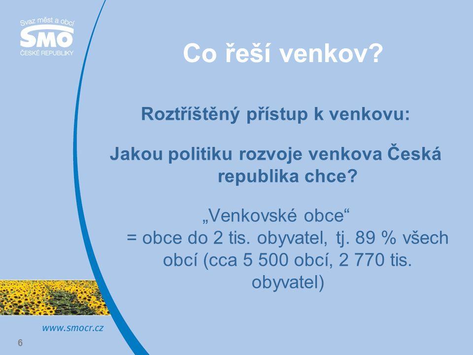 """6 Co řeší venkov? Roztříštěný přístup k venkovu: Jakou politiku rozvoje venkova Česká republika chce? """"Venkovské obce"""" = obce do 2 tis. obyvatel, tj."""