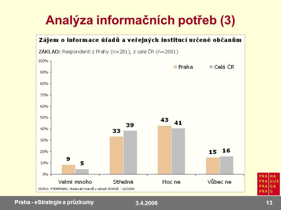 3.4.2006 13 Praha - eStrategie a průzkumy Analýza informačních potřeb (3)