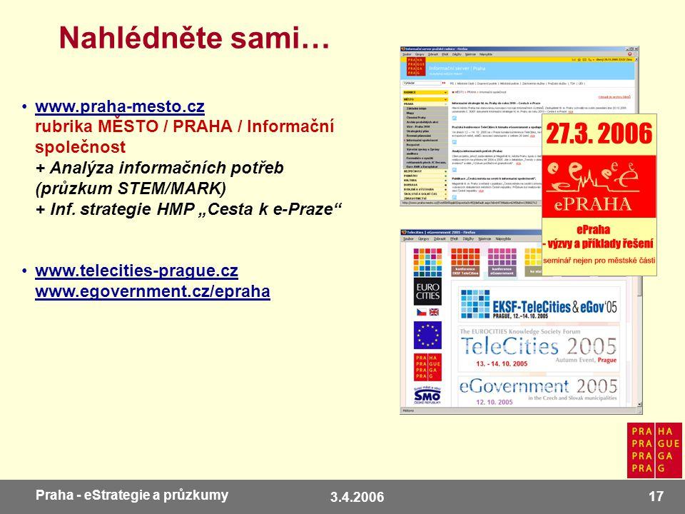 3.4.2006 17 Praha - eStrategie a průzkumy Nahlédněte sami… www.praha-mesto.cz rubrika MĚSTO / PRAHA / Informační společnost + Analýza informačních potřeb (průzkum STEM/MARK) + Inf.