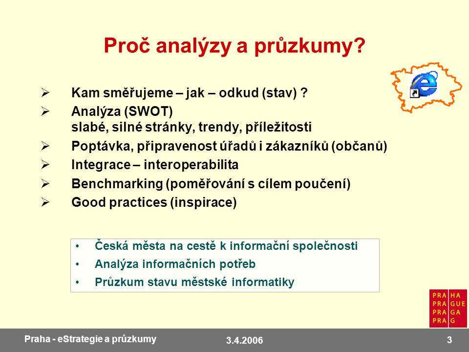 3.4.2006 3 Praha - eStrategie a průzkumy Proč analýzy a průzkumy?  Kam směřujeme – jak – odkud (stav) ?  Analýza (SWOT) slabé, silné stránky, trendy
