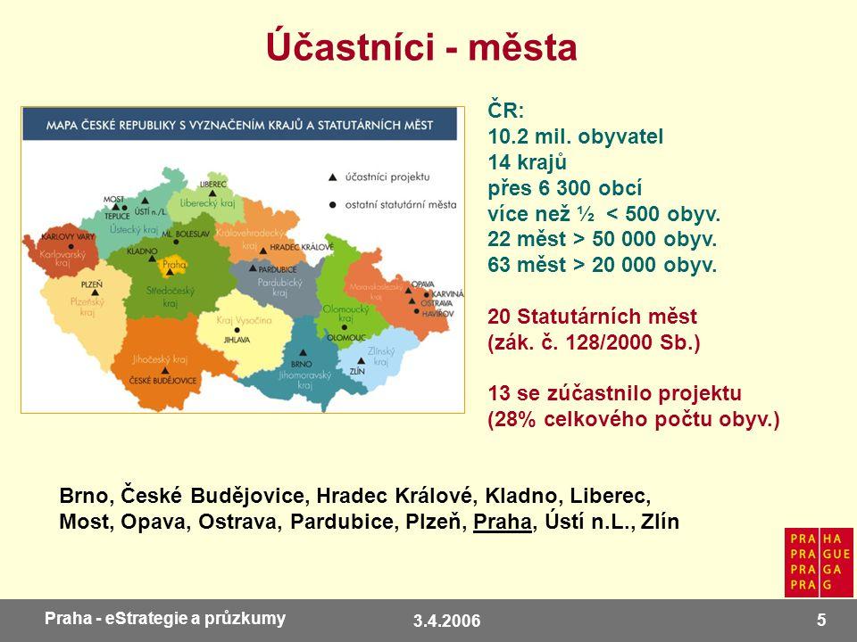3.4.2006 5 Praha - eStrategie a průzkumy Účastníci - města ČR: 10.2 mil. obyvatel 14 krajů přes 6 300 obcí více než ½ < 500 obyv. 22 měst > 50 000 oby