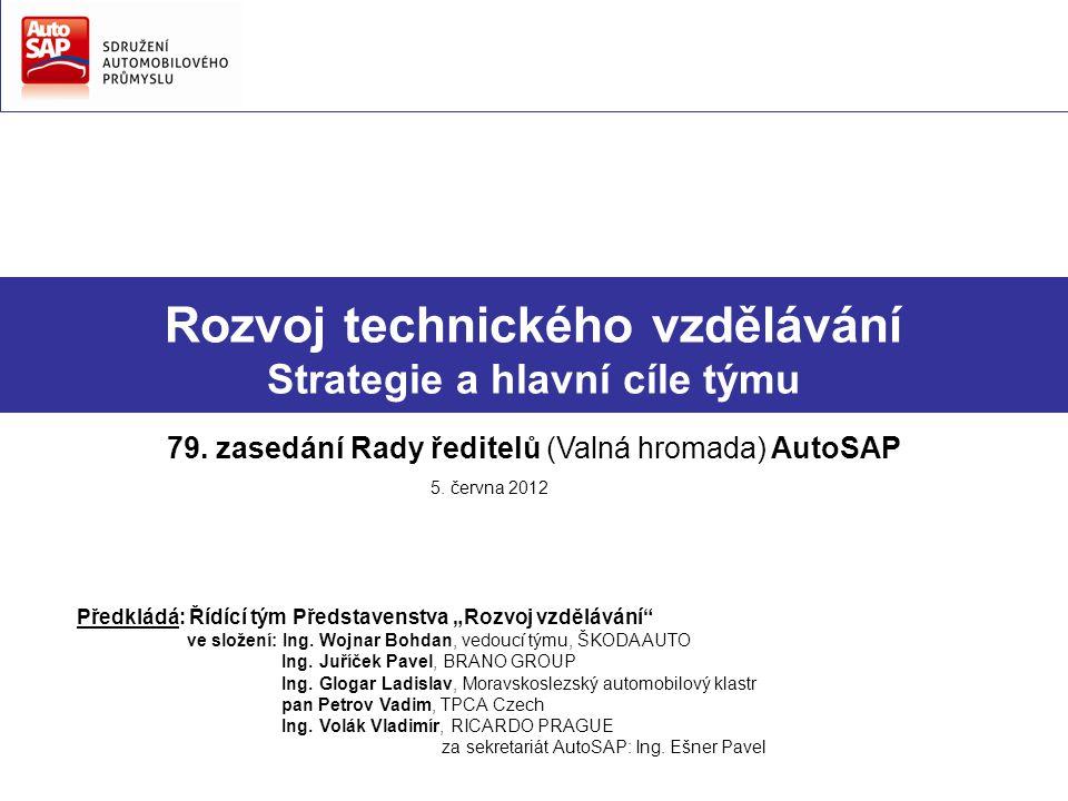 Rozvoj technického vzdělávání Strategie a hlavní cíle týmu 79. zasedání Rady ředitelů (Valná hromada) AutoSAP 5. června 2012 Předkládá: Řídící tým Pře