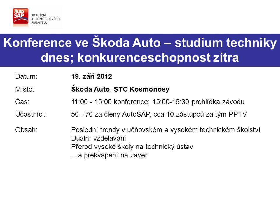 Konference ve Škoda Auto – studium techniky dnes; konkurenceschopnost zítra Datum:19. září 2012 Místo:Škoda Auto, STC Kosmonosy Čas:11:00 - 15:00 konf