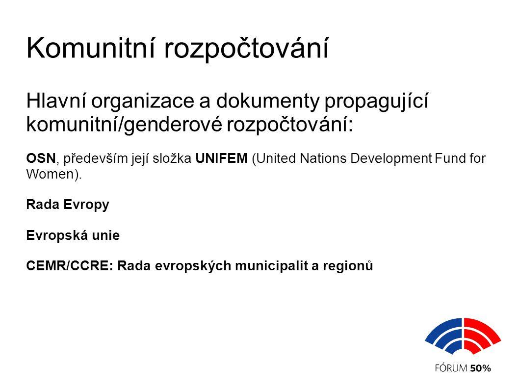 Komunitní rozpočtování Hlavní organizace a dokumenty propagující komunitní/genderové rozpočtování: OSN, především její složka UNIFEM (United Nations Development Fund for Women).