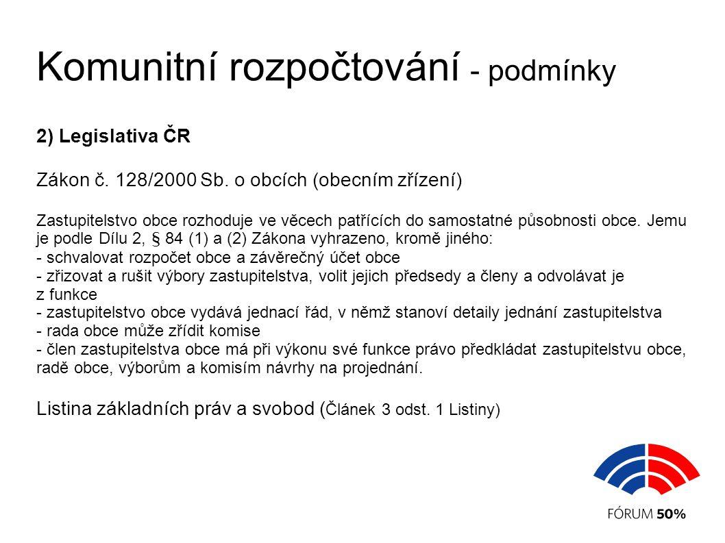 Komunitní rozpočtování - podmínky 2) Legislativa ČR Zákon č.