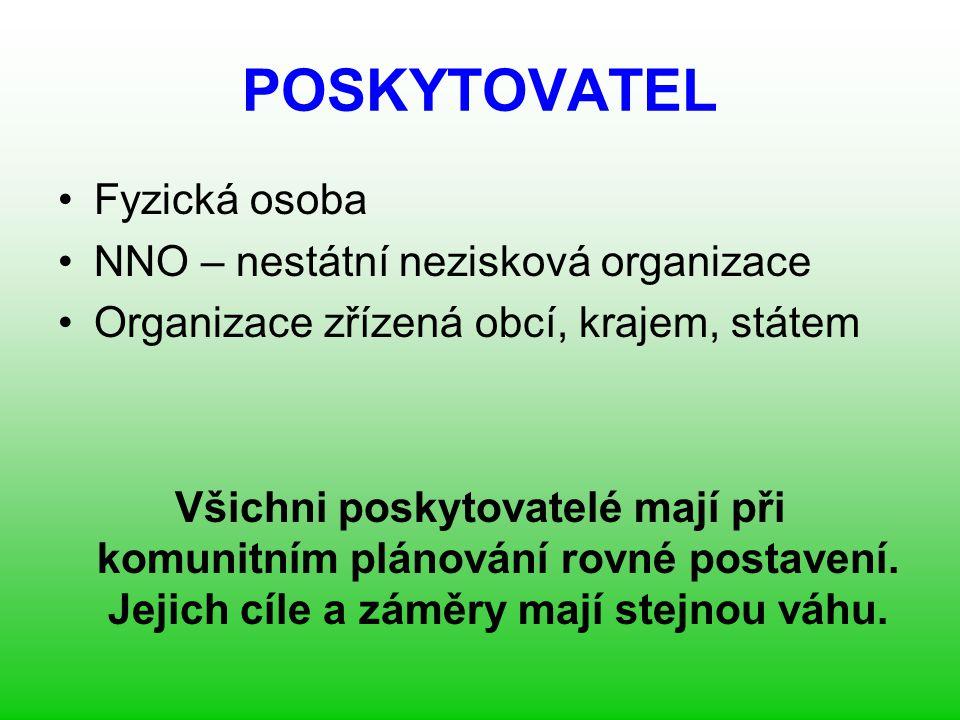 POSKYTOVATEL Fyzická osoba NNO – nestátní nezisková organizace Organizace zřízená obcí, krajem, státem Všichni poskytovatelé mají při komunitním plánování rovné postavení.