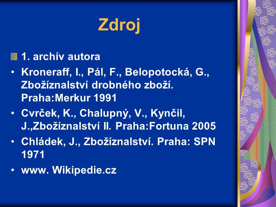 Zdroj 1. archív autora Kroneraff, I., Pál, F., Belopotocká, G., Zbožíznalství drobného zboží. Praha:Merkur 1991 Cvrček, K., Chalupný, V., Kynčil, J.,Z