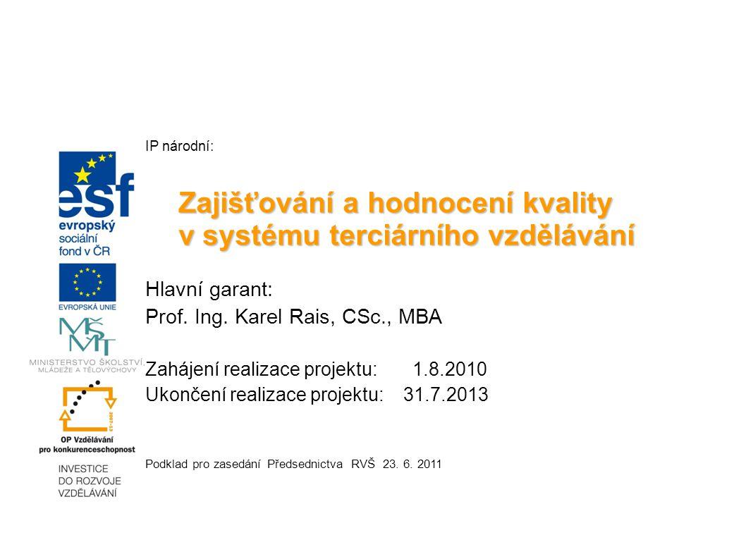 IP národní: Zajišťování a hodnocení kvality v systému terciárního vzdělávání Hlavní garant: Prof.