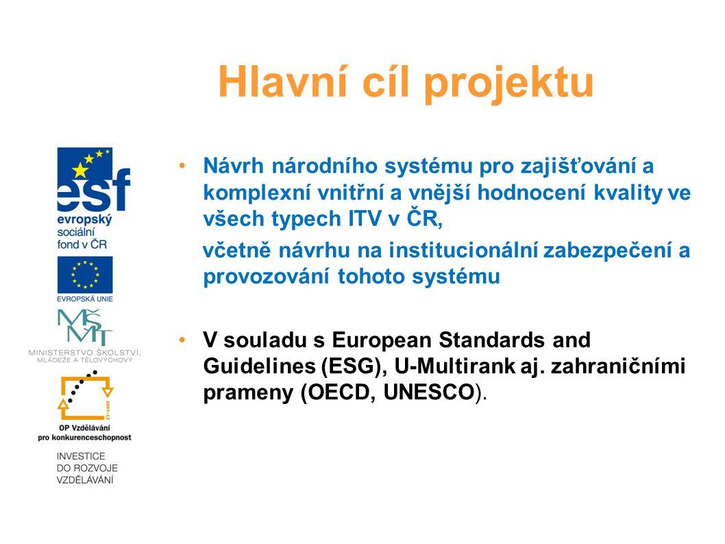 Návrh národního systému pro zajišťování a komplexní vnitřní a vnější hodnocení kvality ve všech typech ITV v ČR, včetně návrhu na institucionální zabezpečení a provozování tohoto systému V souladu s European Standards and Guidelines (ESG), U-Multirank aj.