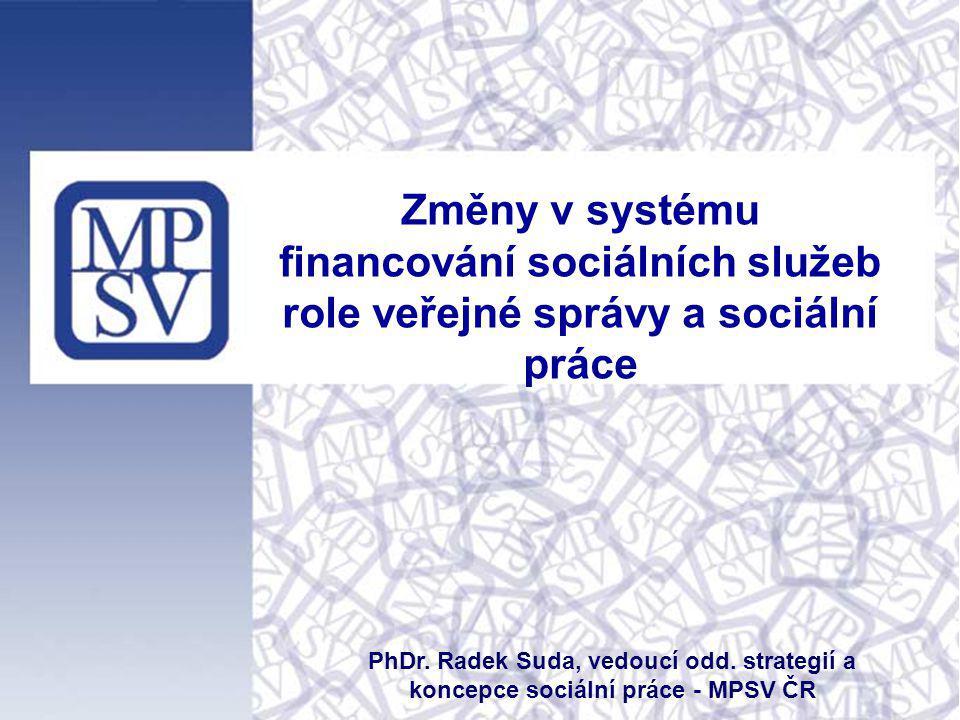 Změny v systému financování sociálních služeb role veřejné správy a sociální práce PhDr. Radek Suda, vedoucí odd. strategií a koncepce sociální práce