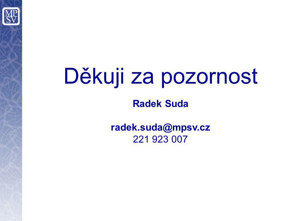 Děkuji za pozornost Radek Suda radek.suda@mpsv.cz 221 923 007