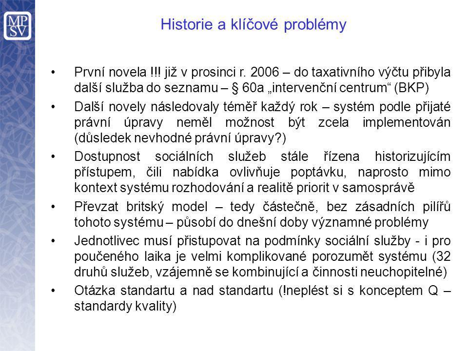 """První novela !!! již v prosinci r. 2006 – do taxativního výčtu přibyla další služba do seznamu – § 60a """"intervenční centrum"""" (BKP) Další novely násled"""