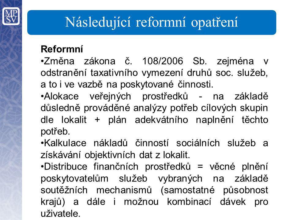 Následující reformní opatření Reformní Změna zákona č. 108/2006 Sb. zejména v odstranění taxativního vymezení druhů soc. služeb, a to i ve vazbě na po