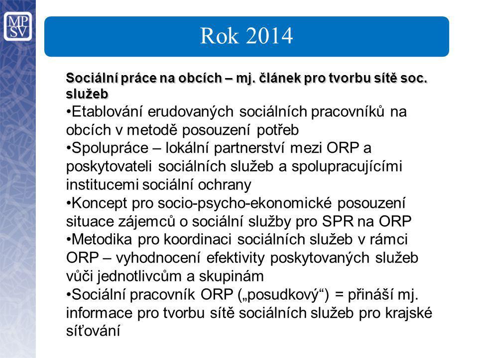 Rok 2014 Sociální práce na obcích – mj. článek pro tvorbu sítě soc. služeb Etablování erudovaných sociálních pracovníků na obcích v metodě posouzení p