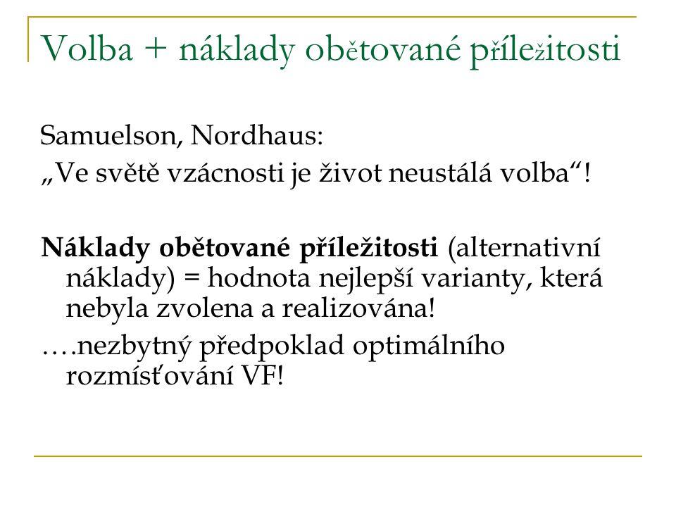 """Volba + náklady ob ě tované p ř íle ž itosti Samuelson, Nordhaus: """"Ve světě vzácnosti je život neustálá volba ."""
