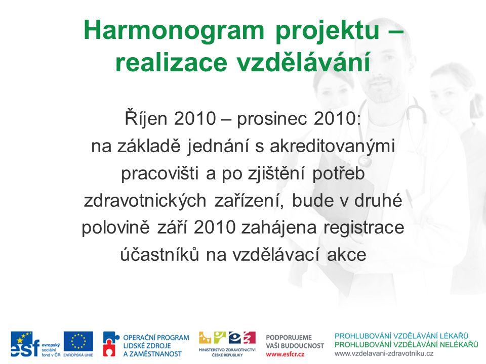 Harmonogram projektu – realizace vzdělávání Říjen 2010 – prosinec 2010: na základě jednání s akreditovanými pracovišti a po zjištění potřeb zdravotnických zařízení, bude v druhé polovině září 2010 zahájena registrace účastníků na vzdělávací akce
