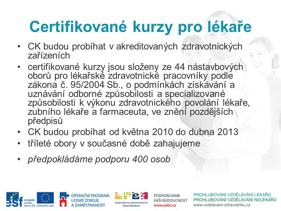 Certifikované kurzy pro lékaře CK budou probíhat v akreditovaných zdravotnických zařízeních certifikované kurzy jsou složeny ze 44 nástavbových oborů pro lékařské zdravotnické pracovníky podle zákona č.