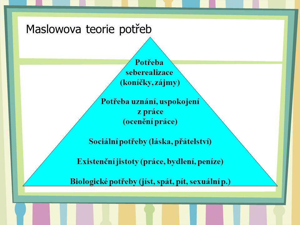 Maslowova teorie potřeb Potřeba seberealizace (koníčky, zájmy) Potřeba uznání, uspokojení z práce (ocenění práce) Sociální potřeby (láska, přátelství)